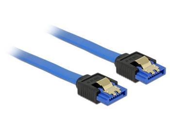 Delock Cable SATA 6 Gb/s receptacle straight > SATA receptacle straight 20 cm blue with gold clips
