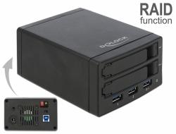 "Delock Externí skrín pro 2 x 2.5"" SATA HDD / SSD s RAID + 3 porty USB 3.0 Hub"