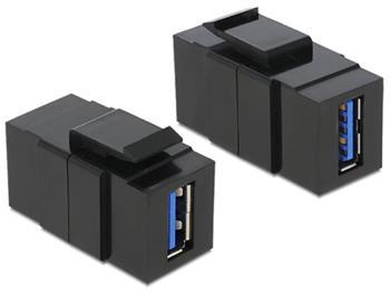 Delock Keystone modul USB 3.0 A samice > USB 3.0 A samice, černý