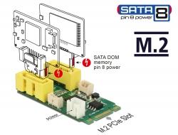 Delock Konvertor M.2 Key B+M samec > 2 x SATA pin 8 s napájením samec