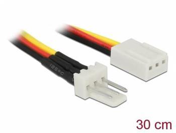 Delock Napájecí kabel ventilátoru, 3 pinový zástrckový konektor na trípinový zásuvkový konektor, 30 cm