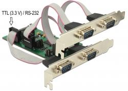 Delock PCI Express Card > 3 x Sériový RS-232 + 1 x TTL 3,3 V / RS-232 s napájením