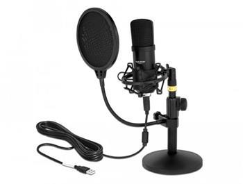 Delock Profesionální USB kondenzátorová mikrofonní sada na Podcasting a hry