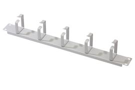DIGITUS 1U panel pro správu kabelů 5x kabelové kroužky 40x60 mm, barva šedá (RAL 7035)