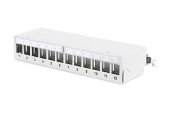 DIGITUS Modular Desktop Patch Panel, stíněný 12 portů, světle šedá