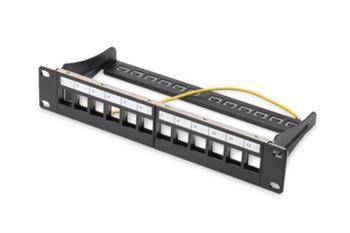 """DIGITUS Modulární propojovací panel, stíněný, 12 portů, 1U, 254 mm (10 """"), montáž do stojanu, černá RAL 9005"""
