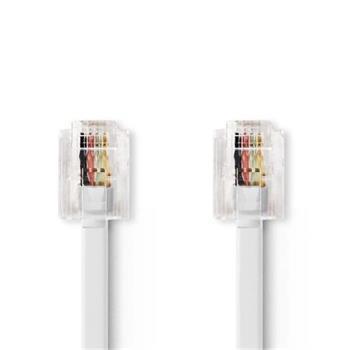 Nedis TCGB90200WT50 - Telekomunikační Kabel | RJ11 (6P4C) Zásuvka – RJ11 (6P4C) Zásuvka | Plochý | 5 m | Bílý