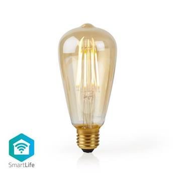 Nedis WIFILF10GDST64 - WiFi Chytrá LED Žárovka s vláknem   E27   ST64   5 W   500 lm   Teplá Bílá