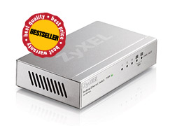 ZyXEL ES-105A, 5-port 10/100Mbps Ethernet switch, 2x QoS (!), desktop